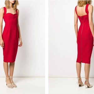 NEW Victoria Beckham Dress - Red Crepe Cami Fitted